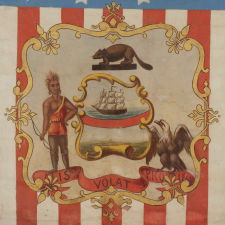 HAND-PAINTED PATRIOTIC BANNER WITH THE SEAL OF THE STATE OF OREGON AND GREAT FOLK QUALITIES, 1861-1876