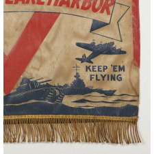 "THE BEST OF ALL REMEMBER PEARL HARBOR BANNERS THAT I HAVE EVER ENCOUNTERED, WITH UNCLE SAM , A ""V"" FOR VICTORY, ""KEEP 'EM ROLLING AND KEEP 'EM FLYING SLOGANS"