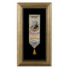 STEVENSGRAPH BOOK MARK WITH AN IMAGE OF GEORGE WASHINGTON, CA 1876-1905, MADE BY PHOENIX MFG. CO. AND SOLD BY ALLEN CHESTERS, BOTH OF PATERSON, NEW JERSEY, WITH THE ORIGINAL PAPER LABEL