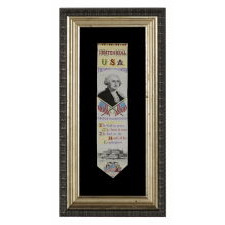 STEVENSGRAPH BOOK MARK, WITH A PORTRAIT OF GEORGE WASHINGTON, MADE FOR THE 1876 CENTENNIAL INTERNATIONAL EXPOSITION IN PHILADELPHIA BY THOMAS STEVENS, WHO INVENTED THE PROCESS FOR PRODUCING THEM