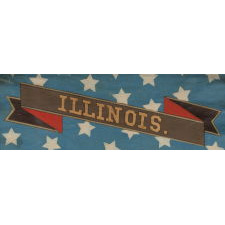 HAND-PAINTED PATRIOTIC BANNER WITH THE SEAL OF THE STATE OF ILLINOIS AND GREAT FOLK QUALITIES PROBABLY MADE FOR THE 1868 DEMOCRAT NATIONAL CONVENTION AT TAMMANY HALL IN NEW YORK CITY