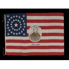 "37 STAR PORTRAIT PARADE FLAG FROM THE 1868 PRESIDENTIAL CAMPAIGN OF ULYSSES S. GRANT & SCHUYLER COLFAX, IN A LARGE SCALE, THE PLATE EXAMPLE FROM THE BOOK ""THREADS OF HISTORY,"" ONE OF THE MOST IMPORTANT & GRAPHIC DESIGNS KNOWN TO EXIST"