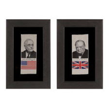PAIR OF STEVENSGRAPH RIBBONS WITH IMAGES OF FRANKIN D. ROOSEVELT AND WINSTON CHURCHILL, WWII ERA (U.S. INVOLVEMENT 1941-45)