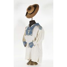 CIVIL WAR PERIOD OR PRIOR NAVYMAN'S FROCK AND JACK TAR HAT WITH ELABORATE PATRIOTIC AND NAUTICAL DECORATION, LIKELY THE BEST EXAMPLES OF EACH TO HAVE SURVIVED IN PRIVATE HANDS