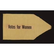 "SMALL SUFFRAGETTE PENNANT WITH ""VOTES FOR WOMEN"" TEXT, 1910-1920"