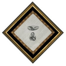 19TH CENTURY KERCHIEF WITH A HIGHLY DETAILED PORTRAIT OF ABRAHAM LINCOLN KERCHIEF, A WARTIME EAGLE, AND A BROWN BORDER WITH CANTONESE LETTERING, ONE-OF-A-KIND AMONG KNOWN EXAMPLES, 1885 - 1909