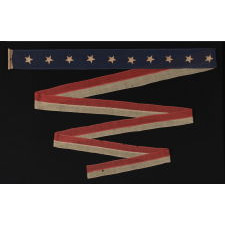 """RARE U.S. NAVY HOMEWARD-BOUND OR COMMISSIONING PENNANT WITH 10 STARS, SIGNED """"JORDAN"""", CA 1890-1895"""