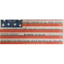 13 STARS IN AN UNUSUAL PATTERN ON A RARE PAPER PARADE FLAG WITH ADVERTISING HOP BITTERS, PROBABLY DISTRIBUTED FOR THE 1876 CENTENNIAL