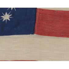 """ANTIQUE AMERICAN FLAG WITH 10-POINTED STARS THAT SPELL """"1776-1876"""", MADE FOR THE 100-YEAR ANNIVERSARY OF AMERICAN INDEPENDENCE, ONE OF THE MOST GRAPHIC OF ALL EARLY EXAMPLES"""