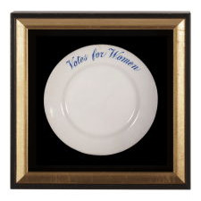 "IRONSTONE PLATE WITH ""VOTES FOR WOMEN"" TEXT, MADE JOHN MADDOCK & SONS FOR SUFFRAGIST AVA BELMONT FOR MARBLE HOUSE, HER FAMOUS ESTATE IN NEWPORT, RHODE ISLAND, CA 1914"