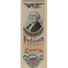 STEVENSGRAPH BOOK MARK WITH AN IMAGE OF GEORGE WASHINGTON, MADE FOR THE 1893 WORLD'S COLUMBIAN EXPOSITION (A.K.A.THE CHICAGO WORLD'S FAIR), ON ITS ORIGINAL PAPER LABEL