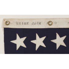 48 STAR U.S. NAVY JACK, MADE AT MARE ISLAND, CALIFORNIA, HEADQUARTERS OF THE PACIFIC FLEET, DURING WWII, DATED 1942