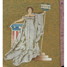 WOMEN'S SUFFRAGE PENNANT IN AN EXTREMELY RARE FORMAT THAT FEATURES A SUFFRAGETTE TAKING THE POSE OF LADY COLUMBIA OR LADY JUSTICE, 1910-1920