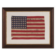 b33896152cb 48 STARS ON ANTIQUE AMERICAN FLAG WITH HAND-WRITTEN INSCRIPTIONS AND AN  EMBROIDERED DATE OF APRIL 12TH