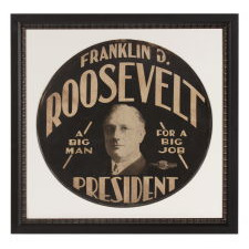 """FRANKLIN D. ROOSEVELT CAMPAIGN TIRE COVER WITH THE TERRIFIC SLOGAN: """"A BIG MAN FOR A BIG JOB,"""" MADE IN 1932 FOR THE FIRST OF HIS FOUR SUCCESSFUL CAMPAIGNS FOR THE PRESIDENCY"""