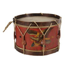 PAINT-DECORATED CIVIL WAR DRUM, MADE BY THE JOHN C. HAYNES COMPANY OF BOSTON, MASSACHUSETTS, 1861-63