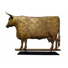 COW WEATHERVANE EXCELLENT SCALE, GREAT, BOXY FORM, AND BEAUTIFUL, GILDED SURFACE, L.W. CUSHING & SONS, BOSTON, CA 1880