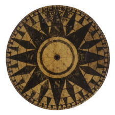 WOODEN, PAINT-DECORATED, MARINER'S COMPASS WHEEL, LATTER 18TH OR 1ST HALF 19TH CENTURY