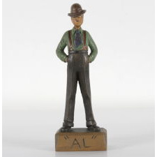 HAND-CARVED AND PAINTED FIGURE OF AL SMITH OF NEW YORK, DEMOCRAT CANDIDATE FOR PRESIDENT IN 1928, THE FIRST CATHOLIC TO RUN FOR THE NATION'S HIGHEST OFFICE ON A MAJOR PARTY TICKET