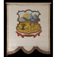 UNIQUE, HAND-PAINTED BANNER WITH THE SEAL OF THE STATE OF OHIO, MADE CA 1868-1880, LIKELY HAVING REPRESENTED DELEGATES FROM THAT STATE AT THE 1872 REPUBLICAN OR DEMOCRAT NATIONAL CONVENTIONS [SIMILAR EXAMPLES DISPLAYED AT BOTH]