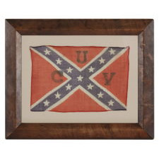 """RECTANGULAR VERSION OF THE CONFEDERATE BATTLE FLAG / SOUTHERN CROSS FORMAT, A PARADE FLAG WITH A """"UCV"""" (UNITED CONFEDERATE VETERANS) OVERPRINT, IN A STYLE THOUGHT TO HAVE BEEN MADE FOR THE LAST REUNION OF CONFEDERATE SOLDIERS IN 1951"""