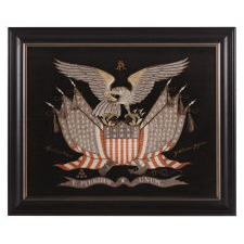 ELABORATE SAILOR'S SOUVENIR EMBROIDERY FROM THE ORIENT WITH A LARGE FEDERAL EAGLE, CROSSED FLAGS, CANNON AND ANCHOR, OBTAINED IN YOKOHAMA, JAPAN, DATED 1906