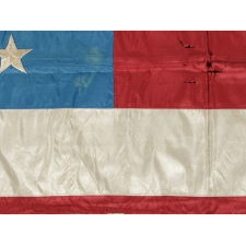 43 STARS, IDAHO STATEHOOD, ONE OF THE RAREST STAR COUNTS AMONG SURVIVING AMERICAN FLAGS OF THE 19TH CENTURY; AN EXCEPTIONALLY RARE U.S. INFANTRY BATTLE FLAG, ENTIRELY HAND-SEWN, MADE FOR AN AFRICAN-AMERICAN UNIT OF CIVIL WAR ORIGIN, CA 1889