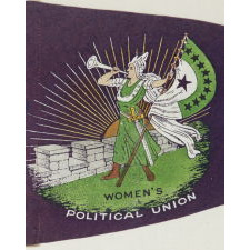 """RARE SUFFRAGETTE PENNANT WITH ICONIC BUGLER GIRL OR """"CLARION"""" IMAGE, MADE FOR HARRIOT STANTON EATON BLANCH'S WOMENS POLITICAL UNION IN NYC, 1910-1915"""