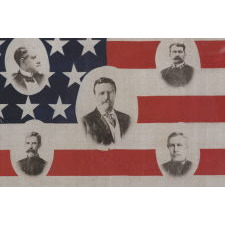 RARE & BEAUTIFUL AMERICAN PARADE FLAG WITH IMAGES OF TEDDY ROOSEVELT AND HIS GREAT WHITE FLEET, 1907-1909