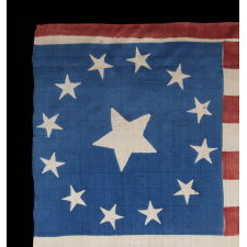 13 STARS AND 17 STRIPES ON AN EXTRAORDINARY FLAG MADE FOR THE 1840 PRESIDENTIAL CAMPAIGN OF WILLIAM HENRY HARRISON, WITH THE INCLUSION OF A STUNNING, 3-COLOR PORTRAIT MEDALLION IN VIOLET, CHEDDAR YELLOW, AND BLACK; AMONG THE EARLIEST OF ALL PRINTED FLAGS KNOWN TO EXIST, AND REPRESENTING THE VERY F
