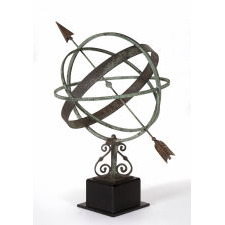 ARMILLARY SUNDIAL WITH EXCEPTIONAL, ORIGINAL SURFACE, BRONZE & COPPER, CA 1890