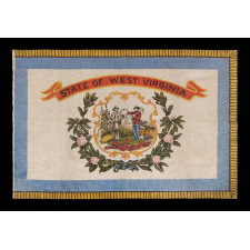 WEST VIRGINIA STATE PARADE FLAG ON CLAZED COTTON, CA 1929 OR PERHAPS PRIOR, A RARE AND BEAUTIFUL EXAMPLE