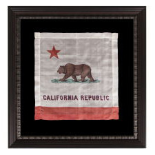 """EARLY KERCHEIF WITH IMAGE OF THE CALIFORNIA STATE """"BEAR"""" FLAG, PROBABLY MADE FOR THE PANAMA-PACIFIC INTERNATIONAL EXPOSITION IN SAN FRANCISCO IN 1915"""