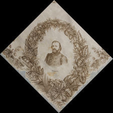 LARGE SCALE, PRINTED SILK KERCHIEF FEATURING CONFEDERATE STATES OF AMERICA PRESIDENT JEFFERSON DAVIS AND EIGHT OF HIS STAFF, CIVIL WAR PERIOD, EXTREMELY RARE AND THE ONLY KNOWN STYLE PRODUCED FOR THE CONFEDERACY