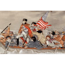 """MAGNIFICENT EMBROIDERY WITH A TRAPUNTO (RAISED) NEEDLEWORK RENDERING OF EMANUEL GOTTLIEB LEUTZE'S """"WASHINGTON CROSSING THE DELAWARE,"""" LIKELY FROM AN ORIENTAL PAVILLION AT A WORLD'S FAIR, CA 1885-1900, UNIQUE IN MY EXPERIENCE IN THE PRIVATE MARKETPLACE"""