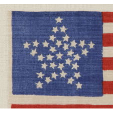 "34 STARS IN A ""GREAT STAR"" PATTERN ON A BRILLIANT, ROYAL BLUE CANTON, OPENING TWO YEARS OF THE CIVIL WAR, 1861-63, KANSAS STATEHOOD"