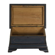 PAINT-DECORATED, PENNSYLVANIA DOCUMENT BOX WITH ELABORATE MOLDINGS AND OGEE BRACKET FEET, 1830-50