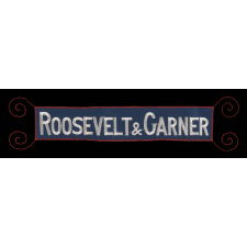 """""""ROOSEVELT & GARNER"""", AN EMBROIDERED ARMBAND SUPPORTING THE 1932 DEMOCRAT PRESIDENTIAL TICKET AND THE REPEAL OF PROHIBITION"""