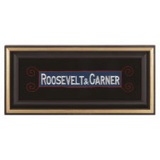 """ROOSEVELT & GARNER"", AN EMBROIDERED ARMBAND SUPPORTING THE 1932 DEMOCRAT PRESIDENTIAL TICKET AND THE REPEAL OF PROHIBITION"