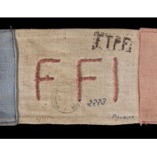 RARE WWII PERIOD FRENCH FORCES OF THE INTERIOR (FFI) ARMBAND