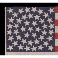 45 STARS ON AN ANTIQUE AMERICAN PARADE FLAG WITH A MEDALLION CONFIGURATION, A RARE FEATURE IN THIS PERIOD, 1896-1908, UTAH STATEHOOD