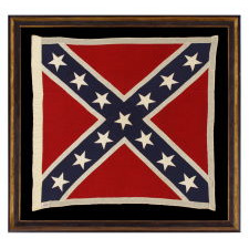 """CONFEDERATE SOUTHERN CROSS """"BATTLE FLAG"""", A SCARCE, UNUSUALLY ACCURATE AND GRAPHICALLY PLEASING, REUNION PERIOD EXAMPLE, SIGNED """"WOLVERINE,"""" SHERRITT FLAG CO., RICHMOND, VA, 1922-WWII ERA"""