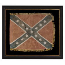 "CONFEDERATE SOUTHERN CROSS ""BATTLE FLAG"", AN UNUSUAL AND GRAPHICALLY PLEASING EXAMPLE, MADE OF SATIN SILK AND DATING TO THE PERIOD BETWEEN 1890 AND 1920"