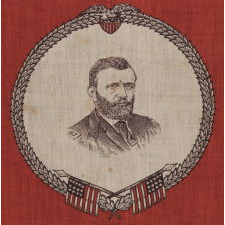PRINTED COTTON KERCHIEF WITH A PORTRAIT OF ULYSSES S. GRANT IN MILITARY DRESS, ONE OF ONLY TWO KNOWN EXAMPLES, 1868 OR 1872