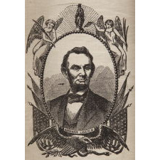 """A NATION'S LOSS"": SILK, 1865, ABRAHAM LINCOLN MOURNING RIBBON IN AN ESPECIALLY ATTRACTIVE PORTRAIT DESIGN"