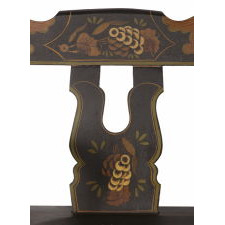 UNUSUAL, SMALL SCALE, PLANK- SEATED, PENNSYLVANIA DECORATED SETTEE WITH A BLACK GROUND AND LYRE (a.k.a. BOOTJACK) BACK SLATS, ca 1870-1890