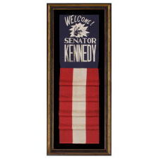 GRAPHIC BANNER WELCOMING JOHN F. KENNEDY AS SENATOR FROM MASSACHUSETTS, WITH NEIGHING DEMOCRAT DONKEY AND GLITTERED LETTERING, 1953-1960, SINGULAR AMONG KNOWN OBJECTS