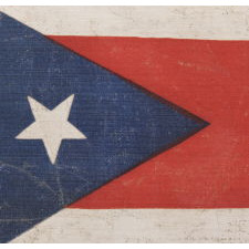 EARLY OHIO STATE FLAG WITH A BLUE DISC INSIDE THE BUCKEYE, CA 1902 - 1915, AN EXTREMELY RARE AND BEAUTIFUL EXAMPLE