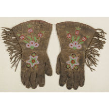 AMERICAN INDIAN (CHIPPEWA) BEADWORK GAUNTLETS WITH STARS AND FLORAL DECORATION, 1880-90