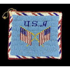 LARGE NATIVE AMERICAN BEADED COIN PURSE, MADE FOR THE AMERICAN MILITARY VETERANS MARKET, WITH EAGLE AND FLAG IMAGERY, CA 1920-30's
